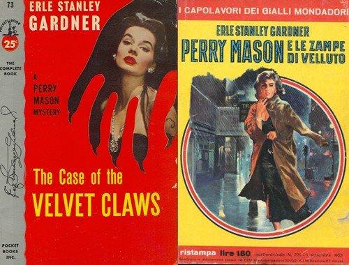 La copertina, inglese ed italiana di Perry Mason e le zampe di velluto.